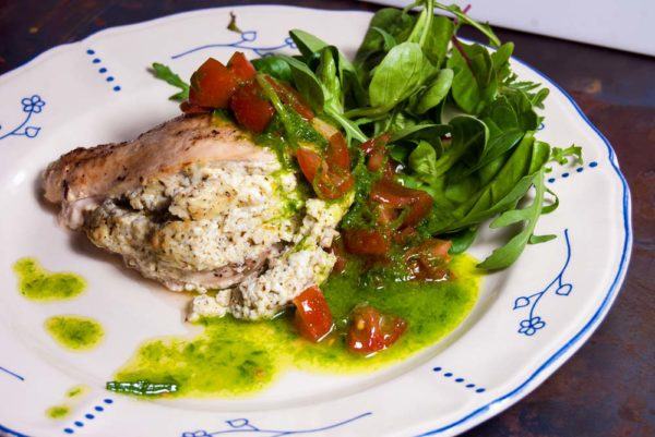 Chicken with ricotta and pesto