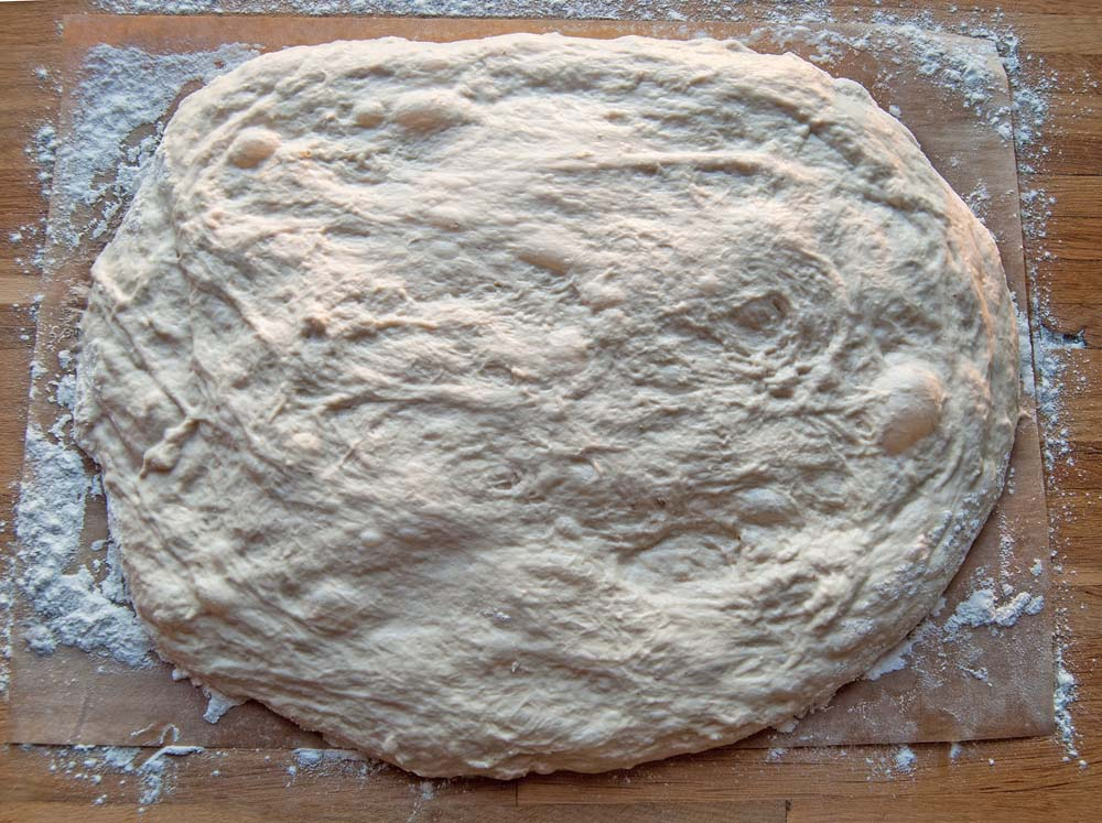 Dough stretched