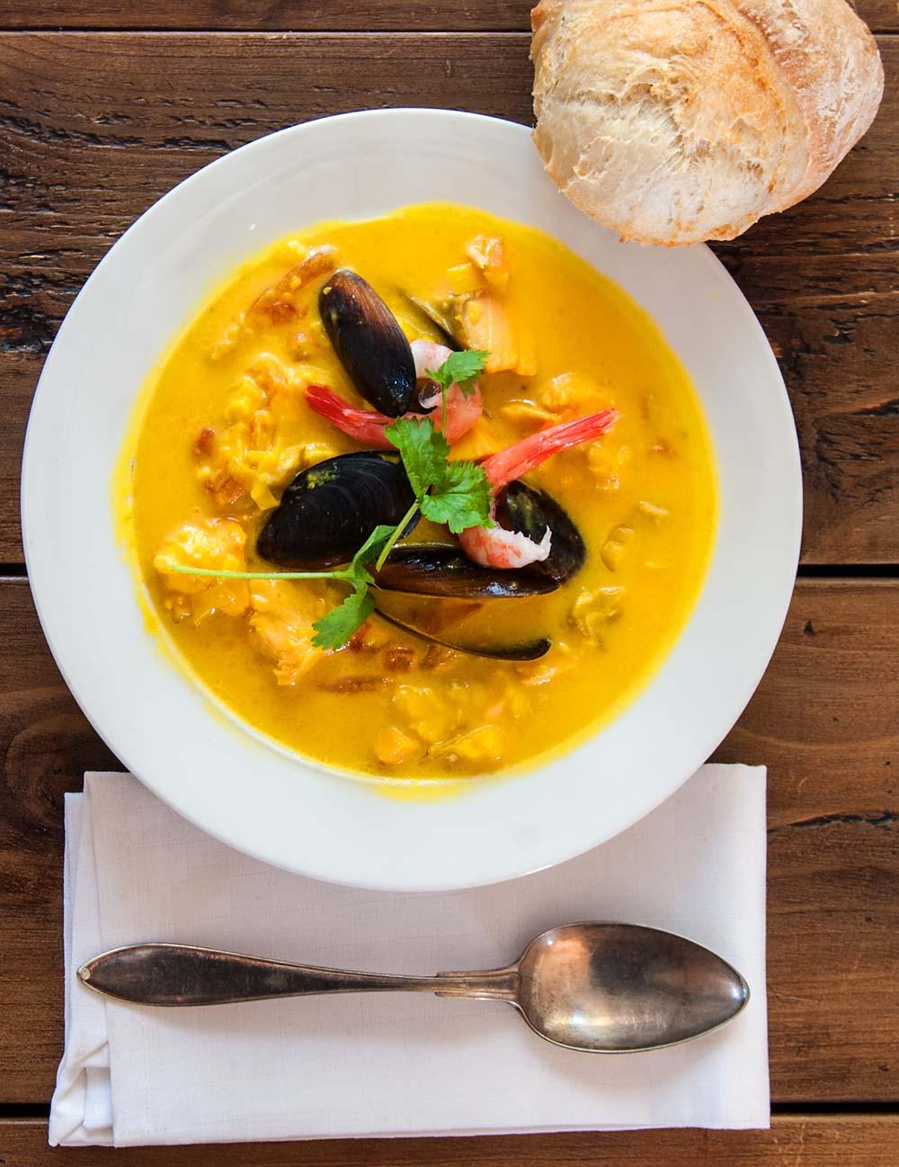 Fish soup with saffron sourdough olives for Fish broth soup